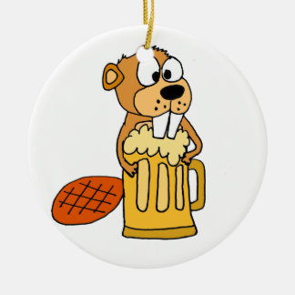 Funny Beaver Drinking Beer Ceramic Ornament