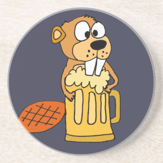 Funny Beaver Drinking Beer Sandstone Coaster