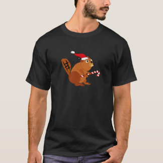 Funny Beaver in Santa Hat Christmas Art T-Shirt