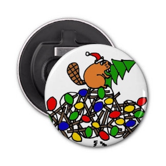 Funny Beaver on Christmas Decorated Dam Bottle Opener