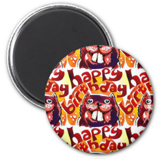 funny beaver with happy birthday text 6 cm round magnet