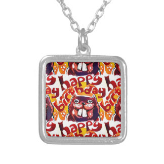 funny beaver with happy birthday text silver plated necklace