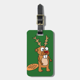 Funny Beaver with Reindeer Antlers Christmas Art Luggage Tag