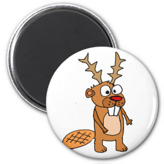 Funny Beaver with Reindeer Antlers Christmas Art Magnet