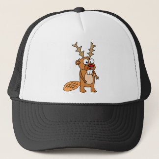 Funny Beaver with Reindeer Antlers Christmas Art Trucker Hat