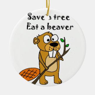 Funny Beaver with Tree Cartoon Ceramic Ornament