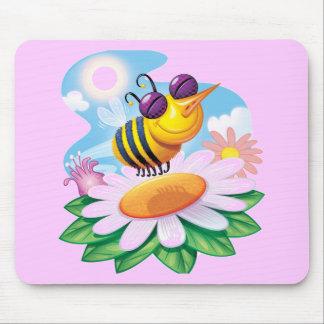 FUnny Bee Cartoon on Daisy Mouse Mats