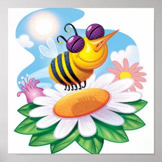 FUnny Bee Cartoon on Daisy Poster