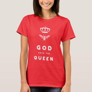 Funny Bee. God Save the Queen. Nerdy Humor T-Shirt