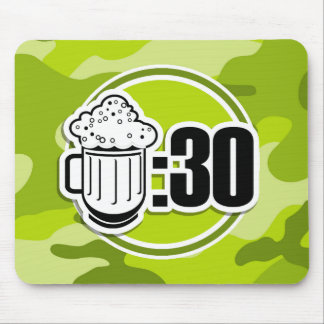 Funny Beer : 30, bright green camo, camouflage Mouse Pad