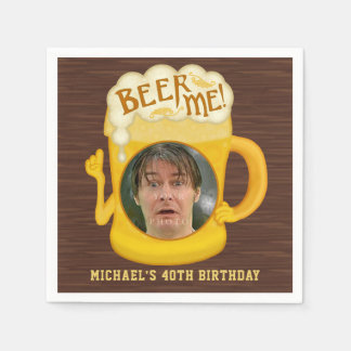 Funny Beer Me Drinking Humor Birthday Party Photo Disposable Serviettes