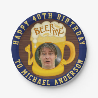 Funny Beer Me Drinking Humor Birthday Party Photo Paper Plate