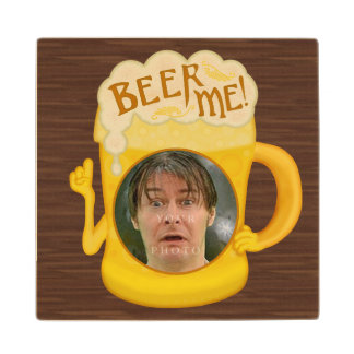 Funny Beer Me Drinking Humor   Personalized Photo Wood Coaster