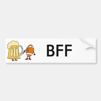 Funny Beer Mug and Football Holding Hands Bumper Sticker