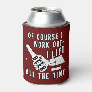 Funny Beer Work Out Humor on Red Can Cooler