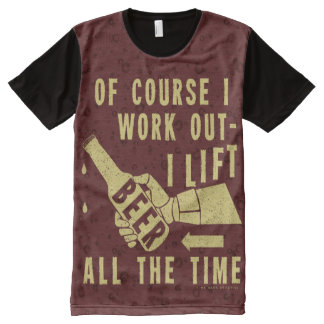 Funny Beer Work Out Humor with Brown Stout Bubbles All-Over Print T-Shirt