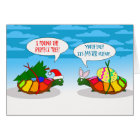 Funny Belated Christmas, Slow Turtle with Tree Card