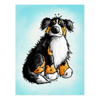 Funny Bernese Mountain Dog Cartoon Postcard