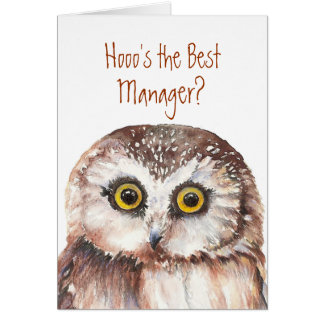 Funny Best Manager? Thank You Wise Owl Humor Greeting Cards