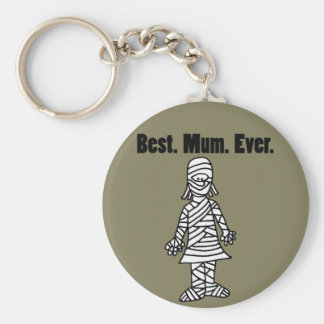 Funny Best Mom Ever Mummy Pun Cartoon Key Ring