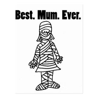 Funny Best Mom Ever Mummy Pun Cartoon Postcard