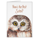 Funny Best Sister? Birthday Wise Owl Humour