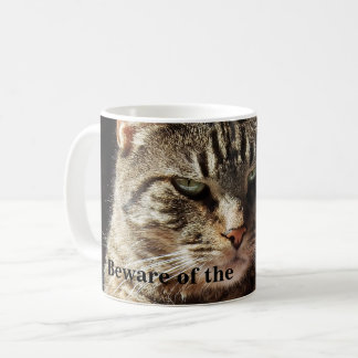 Funny Beware of the Crabby Tabby Cat Coffee Mug