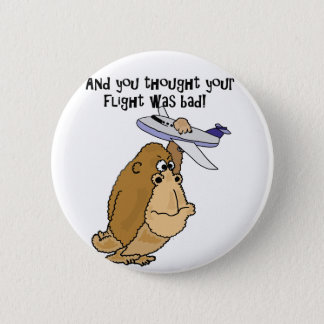 Funny Big Ape Holding Airplane Cartoon 6 Cm Round Badge