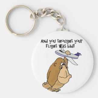 Funny Big Ape Holding Airplane Cartoon Key Ring