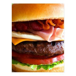 Funny big burger postcard