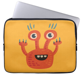 Funny Big Eyed Smiling Cute Monster Laptop Sleeve