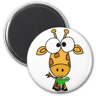 Funny Big Headed Giraffe Drinking Margarita Art 6 Cm Round Magnet