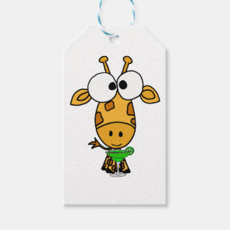 Funny Big Headed Giraffe Drinking Margarita Art Gift Tags