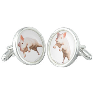 Funny big young  pig jumping high cufflinks