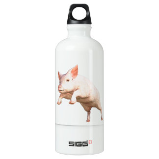 Funny big young  pig jumping high SIGG traveller 0.6L water bottle