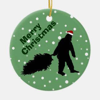 Funny Bigfoot Pulling Christmas Tree Ornament