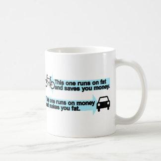 Funny Bike versus Car Basic White Mug