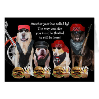 Funny Biker Dogs Birthday Card