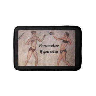 Funny Bikini Beach Volleyball Old Roman Mosaic Mat