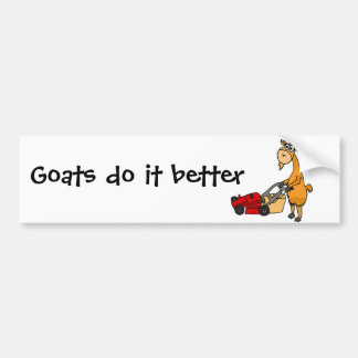 Funny Billy Goat Pushing Lawn Mower Cartoon Bumper Sticker