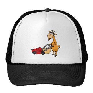Funny Billy Goat Pushing Lawn Mower Cartoon Cap