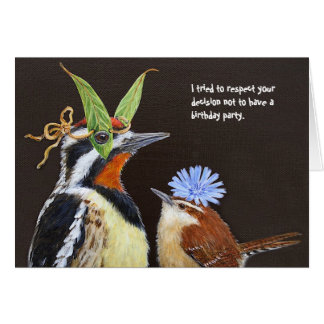 Funny bird birthday card with sapsucker