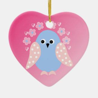 funny bird Double-Sided heart ceramic christmas ornament