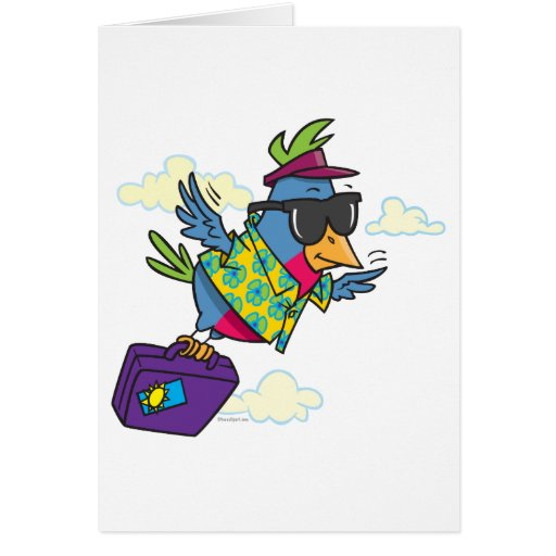 funny bird flying south vacation cards