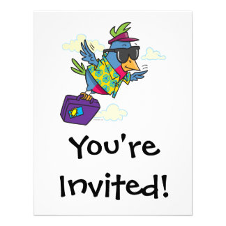 funny bird flying south vacation personalized announcements