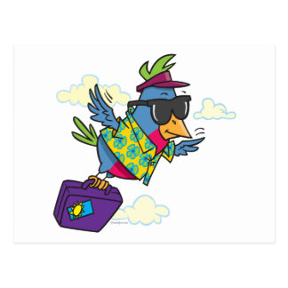 funny bird flying south vacation postcards