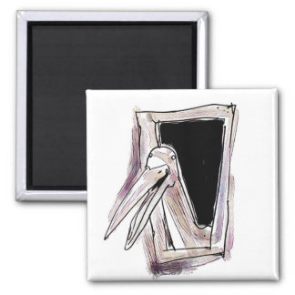 funny bird looking from window square magnet