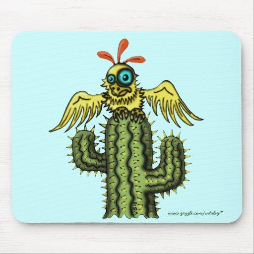 Funny bird on cactus mousepad design