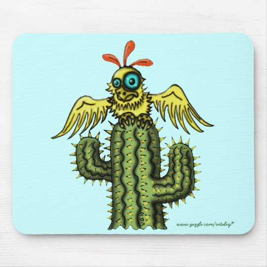 Funny bird on cactus mousepad design