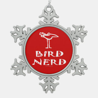 Funny Bird Watching Pewter Snowflake Decoration